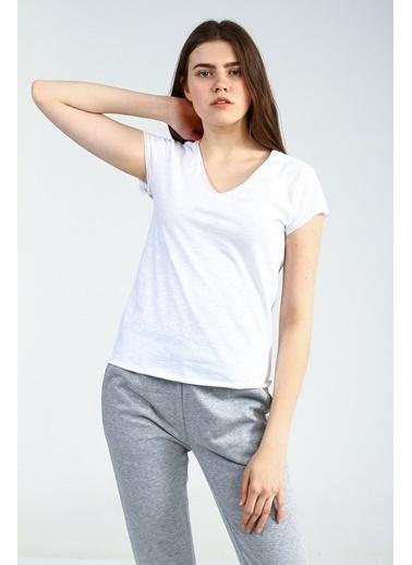 Collezione Beyaz V Yakalı Kısa Kollu Kadın Basic Tshirt Beyaz